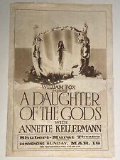 ANNETTE KELLERMAN Vintage 1916 A DAUGHTER OF THE GODS Silent Film MOVIE HERALD