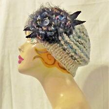 Cappello donna invernale fiori basco shabby berretto boho  3f7c4129fe93