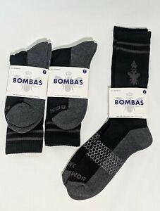 3 Pairs Bombas Men's Crew/Mid-Calf Socks Black Size Large Fits 9-13