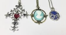 Vampire Diaries Cross, Katherine Lapis Lazuli, Head Pendant Necklace US Seller
