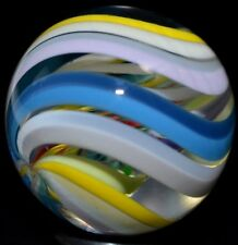 "JODY FINE HANDMADE GLASS MARBLE/1.117""-CUBSCOUT RAINBOW TRIPLE-RED,ORANGE,YELLOW"