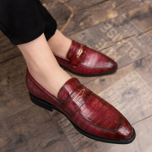 Mens Casual Pointed Toe Oxfords Loafers Alligator Pattern PU Leather Dress Shoes