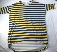 Lularoe XS Irma Shirt Comfy Top Striped Yellow Navy Blue HTF