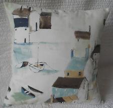 "18"" Cushion Cover Duck Egg Blue Shabby Chic Style Seaside Harbour Print New 45cm"
