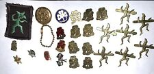 Lot of 25 Vintage Original Girl Guide Pins + Patch Enamel ID retractable chain