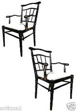 PAIR JAPAN BLACK & GOLD ENGLISH REGENCY ST CARVED FAUX FEMALE BAMBOO ARM CHAIRS