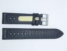 Di-Modell Impermeable perforado 22 mm Negro reloj banda correa Rallye Wapro