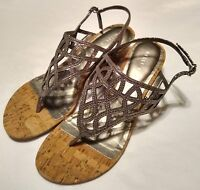 Kelly & Katie Analissa Silver Sparkle Slingback Wedge Heels Womens Size 8.5 / 39