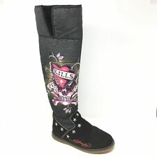 Women's Ed Hardy Tall Winter Boots Shoes Size 6M Love Kills Slowly Fur Lined AE5