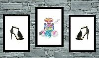 set of 3 wall print art home decor perfume picture poster