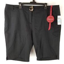Charter Club Womens Shorts Slim It Up Decorative Belt Black Gold Size 20W NEW