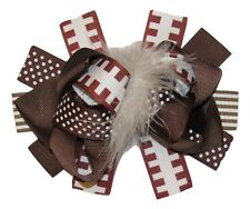 "NEW ""FOOTBALL"" Fur Hairbow Alligator Clips Girls Ribbon Bows 5 Inches Sports"