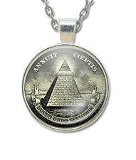 Masonic Glass Necklace Pendant with Masonic Symbol found on U.S. Dollars