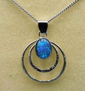 Australian Opal  Sterling  Silver  925 Gemstone  Pendant and chain 44cm long .
