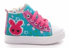 GLITTER Girls canvas shoes ankle trainers toddler size 8 UK KIDS GIRL HI TOPS
