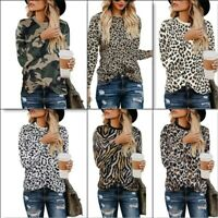 Long Sleeve Pullover Crew Neck Blouse T-Shirt Casual Ladies Top Womens Shirt