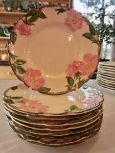 "Vntg 3 Franciscan Desert Rose DESSERT Plates 8"" Earthenware USA Half Moon c1950"
