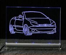 Peugeot 206 cc cabrio  als Gravur auf LED Schild 206cc