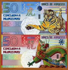 SET, Kamberra,  50 + 50 Numismas, China Lunar Year 2010;2012 UNC > Tiger, Dragon