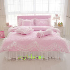 Thick Quilted Lace Bedding Sets Bed Princess Korean Girls Pink Skirt Pillowcase