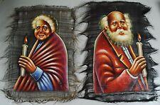"Jewish Man & Woman Couple Portrait Paintings on Horse Hair Canvas?  17"" x 13"""