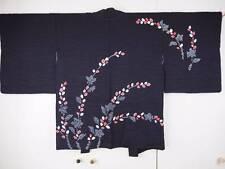 @@Japanese silk haori kimono/rinzu silk/black/shibori tie-dyeing D2031