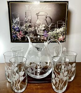 7PCS Crystal Clear Industries Iris Frost Pitcher & 6 Glasses Hand Cut NEW IN BOX