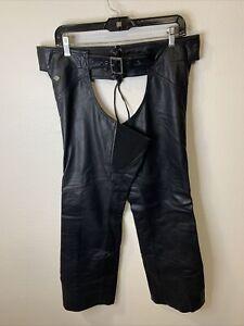 Harley Davidson Womens Black Leather Chaps Size Medium