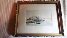 Beautiful Vintage Maine Watercolor Painting Coastal Scene – J. Salsbury