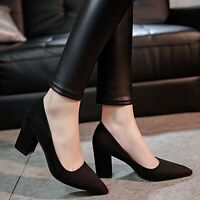 Women's Girls Suede Pointed Toe Block Mid Heel Work OL Pumps Shoes Size 2-6 UK