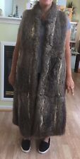 CRAZY Real Wolf Coyote Long MAXI Sleeveless Lined Fur Coat Vest  sz 10