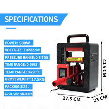 5 Ton Hydraulic Heat Press Machine Oil Extractor Dual Heating Plate 6x12CM 220V