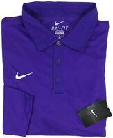 NEW Nike Golf Shirt Mens Long Sleeve Reckoning Polo Dri-Fit Purple 519857-545 Sz