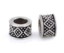 2PCs Diamond Pattern Silver Spacer Beads Fit European Charm Bracelets #Y-102