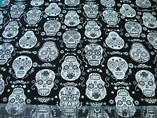 1 Yard Quilt Cotton Fabric - Timeless Treasures Glow in the Dark Sugar Skulls