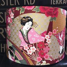 NEW HANDMADE LAMPSHADE JAPANESE UKIYOE GEISHA KIMONO LADY FABRIC RED PINK GOLD