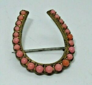 Victorian Coral Bead Horseshoe Brooch Pin Jewelry (208G)