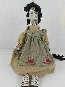 Handmade Primitive Folk Art Rag Zebra Doll
