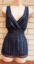 MARKS SPENCER NAVY BLUE GOLD STRIPE GLITTER PARTY SILK BLOUSE TUNIC TOP 12 M