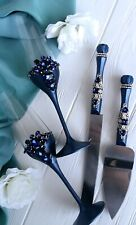Navy wedding champagne glasses and cake server set Toast flute and cake knife