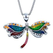 """Large Beautiful Dragonfly Pendant Necklace with 19"""" Mesh Chain Fast Shipping"""