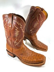 GUC Men's Lucchese 2000 Western Boot Full Quill Ostrich Brown Square toe Sz 11 D
