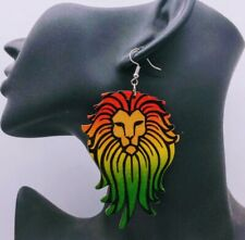 African Lion Wooden Multicolored Dangle Drop Earrings
