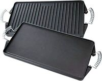 Bruntmor Pre Seasoned Cast Iron Reversible Griddle Grill Pan 17 x 9 Inches Black