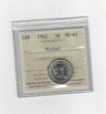 **1942**, ICCS Graded Canadian,  5 Cent, **MS-65**