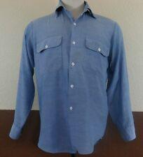 VTG 70s Men BIG MAC Work Shirt Blue CHAMBRAY No Iron PAPER THIN Sz L 1970s 50/50