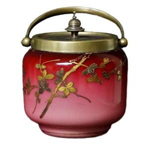 RARE Webb Gold Decorated Shiny Peachblow Glass Covered Jar
