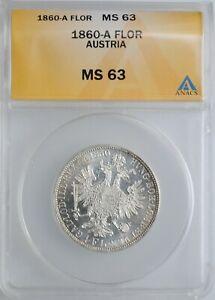 """Austria 1 florin 1860 A, ANACS MS63, """"Emperor Franz Joseph I (1848 - 1916)"""""""