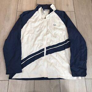 Vintage Sergio Tacchini Tracksuit Jacket Large White Blue