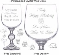 Personalised Crystal Wine Glass 9oz , 30th 40th 50th 60th 70th  Birthday Gift